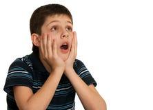 Retrato de un muchacho dado una sacudida eléctrica Imágenes de archivo libres de regalías