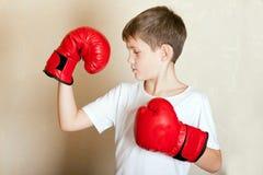 Retrato de un muchacho en guantes de boxeo rojos Fotografía de archivo libre de regalías