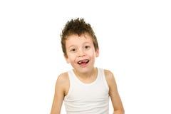 Retrato de un muchacho en ropa interior con el pelo mojado Imágenes de archivo libres de regalías