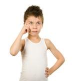 Retrato de un muchacho en ropa interior con el pelo mojado Foto de archivo libre de regalías