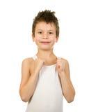 Retrato de un muchacho en ropa interior con el pelo mojado Imagenes de archivo