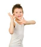 Retrato de un muchacho en ropa interior con el pelo mojado Imagen de archivo libre de regalías