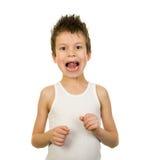Retrato de un muchacho en ropa interior con el pelo mojado Fotos de archivo