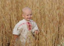 Retrato de un muchacho en un campo de trigo Foto de archivo