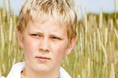 Retrato de un muchacho joven en campo de maíz Foto de archivo libre de regalías