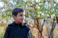 Retrato de un niño pequeño que camina en la naturaleza en otoño, colegial en un parque del otoño en hojas amarillas en un fondo d fotos de archivo