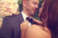 Retrato de un novio y de una novia Imágenes de archivo libres de regalías