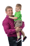 Retrato de un padre con un hijo de 3 años Imágenes de archivo libres de regalías