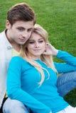 Retrato de un par feliz joven en amor Imagen de archivo