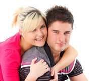 Retrato de un par que se abraza Imagen de archivo