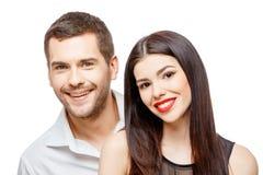 Retrato de un par sonriente feliz joven hermoso fotografía de archivo libre de regalías