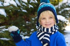 Retrato de un pequeño muchacho sonriente en sombrero caliente en bosque nevoso Fotografía de archivo