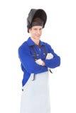 Retrato de un soldador de sexo masculino Imagen de archivo libre de regalías