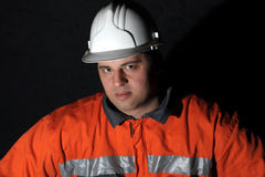 Retrato de un trabajador de mina Imágenes de archivo libres de regalías