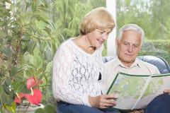 Retrato de un viejo par feliz que analiza la correspondencia Imagen de archivo libre de regalías