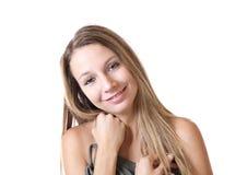 Retrato de una belleza joven en blanco Fotos de archivo libres de regalías