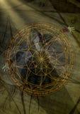 Retrato de una bruja del goth que hace un resplandor el círculo mágico Foto de archivo