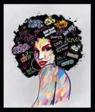 Retrato de una cara afroamericana de la mujer libre illustration