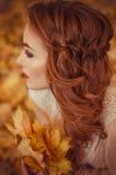 Retrato de una chica joven hermosa con los ojos azules y el pelo trenzado y un ramo de hojas de otoño en las manos, dres largos a Fotos de archivo