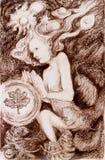 Retrato de una criatura de hadas en fondo ornamental abstracto Imagen de archivo libre de regalías