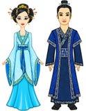 Retrato de una familia china de la animación en ropa tradicional crecimiento completo ilustración del vector