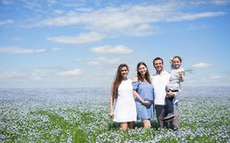 Retrato de una familia embarazada joven en el campo de lino Fotografía de archivo