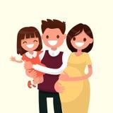 Retrato de una familia joven feliz Papá, hija y mot embarazada Ilustración del Vector