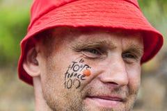 Retrato de una fan del Tour de France Foto de archivo