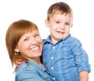 Retrato de una madre feliz con su hijo fotografía de archivo
