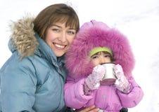 Retrato de una madre y de una hija felices foto de archivo