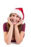 Retrato de una morenita festiva que sonríe en la cámara Imagenes de archivo