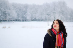Retrato de una morenita sonriente joven en parque del invierno Fotografía de archivo
