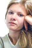 Retrato de una muchacha aburrida. Aislado sobre blanco Imagenes de archivo