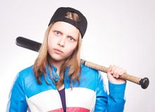 Retrato de una muchacha adolescente con el palo Foto de archivo