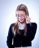 Retrato de una muchacha adolescente con los vidrios Imagen de archivo