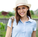 Retrato de una muchacha adolescente feliz hermosa Imagen de archivo
