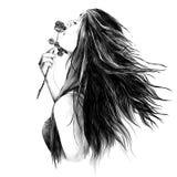Retrato de una muchacha con el pelo flojo libre illustration