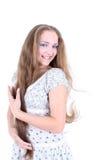 Retrato de una muchacha con el pelo largo Imagenes de archivo