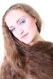 Retrato de una muchacha con el pelo largo Imagen de archivo