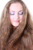 Retrato de una muchacha con el pelo largo Fotografía de archivo
