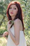 Retrato de una muchacha con el vestido blanco en la arboleda verde oliva imagenes de archivo