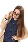 Retrato de una muchacha con los vidrios Fotos de archivo libres de regalías