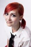 Retrato de una muchacha en estilo del animado con los ojos azules foto de archivo