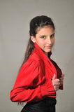 Retrato de una muchacha en rojo Fotografía de archivo