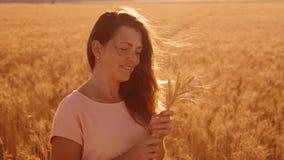 Retrato de una muchacha en un campo con trigo en el vídeo de la cámara lenta de la naturaleza de la silueta de la puesta del sol  almacen de video