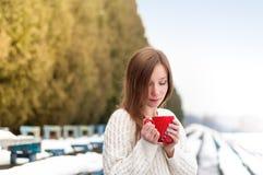 Retrato de una muchacha en un parque del invierno Fotos de archivo libres de regalías