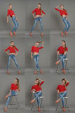 Retrato de una muchacha en un sweter rojo y los vaqueros, collage Imagen de archivo
