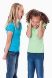 Retrato de una muchacha enojada que grita en su amigo Imagen de archivo