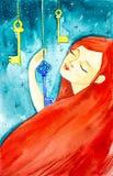Retrato de una muchacha hermosa con el pelo rojo largo y los ojos cerrados La muchacha lleva a cabo una de las tres llaves fabulo imagenes de archivo