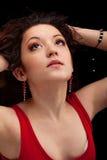 Retrato de una muchacha hermosa dark-haired del primer Imágenes de archivo libres de regalías